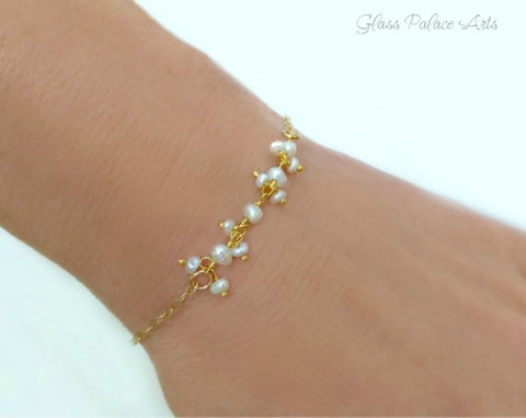 Freshwater Pearl June Birthstone Bracelet - Dainty Pearl Bridal Wedding Jewelry