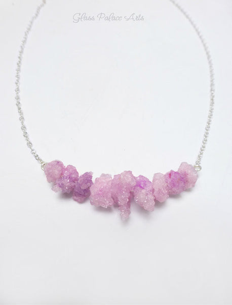 Raw Gemstone Pink Druzy Statement Necklace