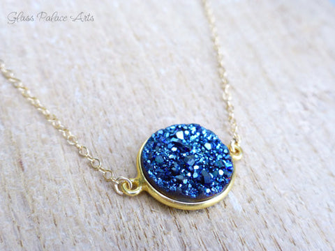 Blue Druzy Necklace - With Stunning Blue Sapphire Crystals