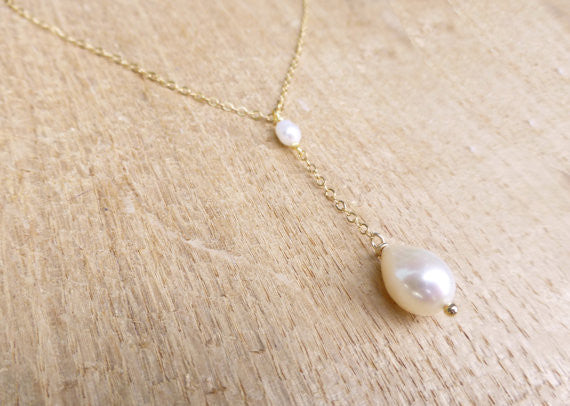 Freshwater Pearl Lariat Y Necklace - Sterling Silver, 14k Gold Fill or Rose Gold Fill