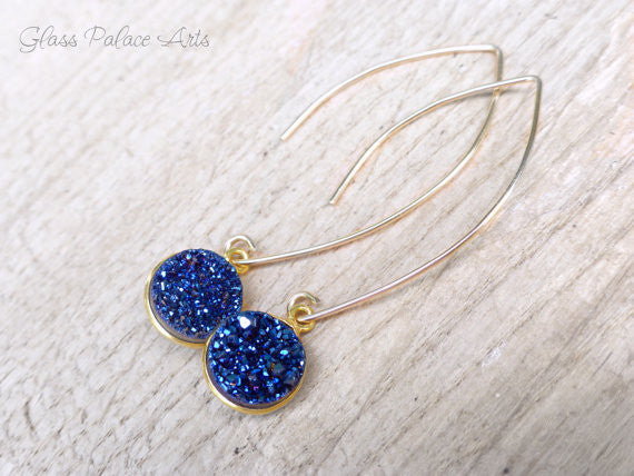 Genuine Blue Druzy Earrings