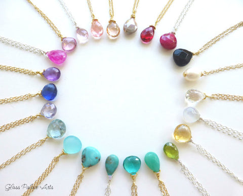 Tiny Gemstone Teardrop Necklace - Choose Your Gemstone!