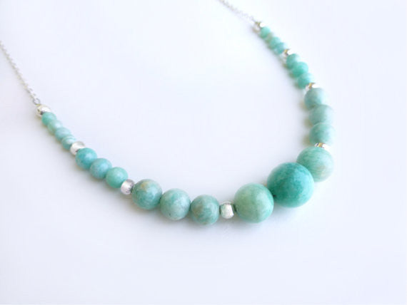 Amazonite Statement Necklace - Gold or Sterling Silver