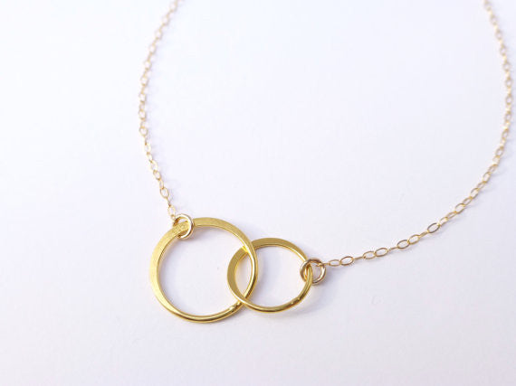 Infinity Necklace With Simple Circle Pendant - In Sterling Silver, Gold or Rose Gold