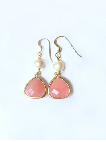 Pink Coral Dangle Earrings - Coral and Pearl Earrings