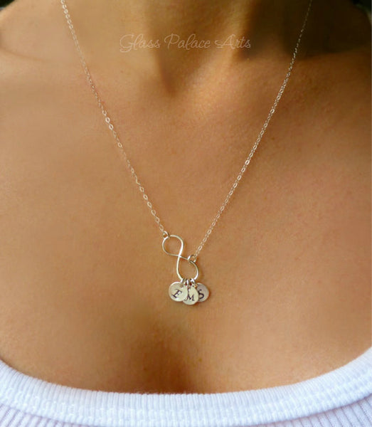 Initial Necklace - Personalized Infinity Disc Necklace