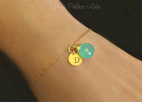 Hand Stamped Bracelet - Personalized Bracelet with Gemstone