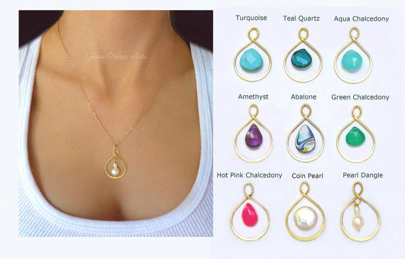 Pick Your Gemstone Necklace - Gemstone Pendant Necklace