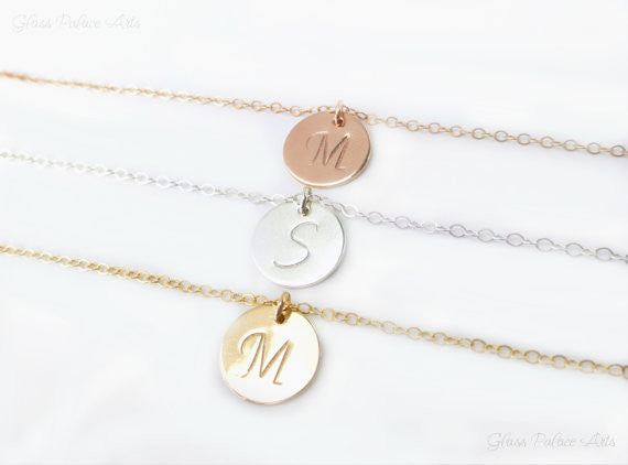 Initial Necklace - Dainty Monogram Charm - Sterling Silver, Gold, Rose Gold