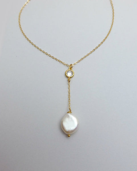 Pearl Y Necklace - Pearl and Crystal Drop Necklace