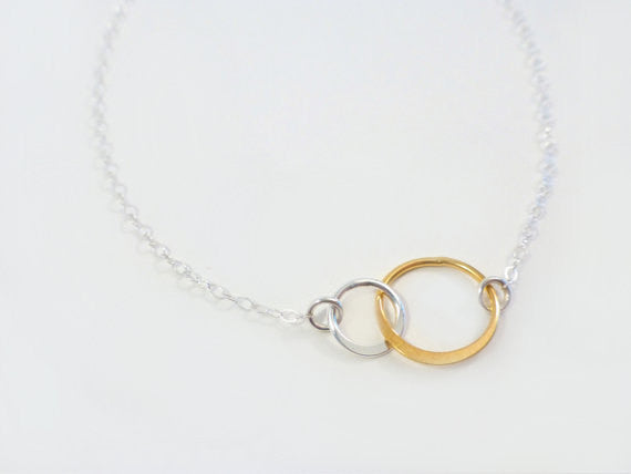 Infinity Circle Necklace With Mixed Metal - Sister Necklace