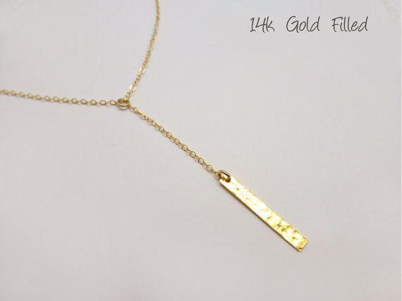 Vertical Bar Necklace - In Sterling Silver, Rose Gold Filled or 14k Gold Filled