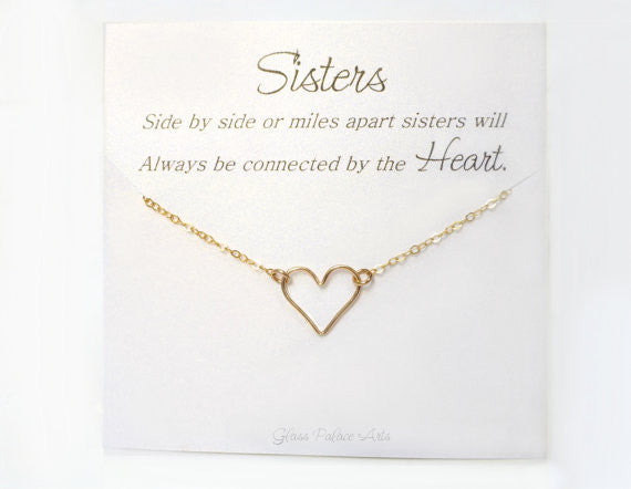 Sister Necklace - Heart Necklace with Personalized Card