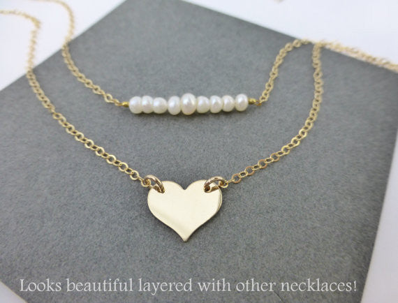Dainty Layering Pearl Strand Necklace For Women - Sterling Silver, 14k Gold Fill or Rose Gold Fill