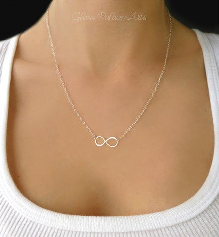 Sterling Silver Infinity Necklace - Dainty Necklace Sterling Silver