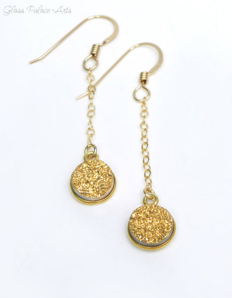Gold Druzy Dangle Earrings