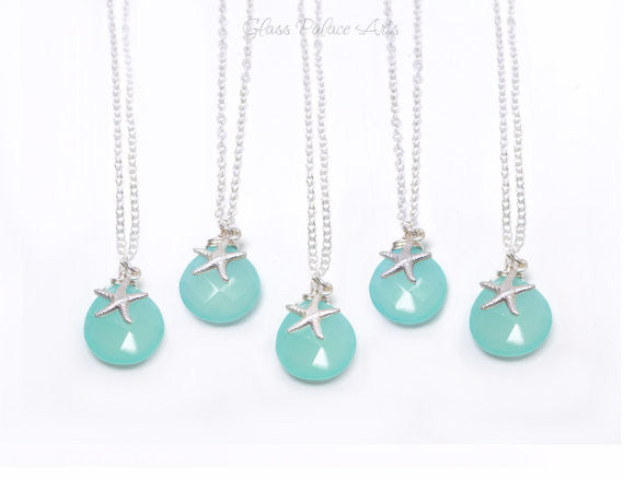 Starfish Necklace - Aqua Gemstone Necklace