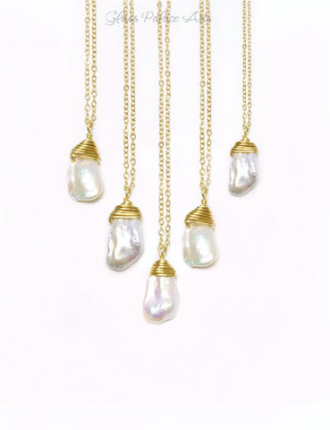 Keshi Pearl Necklace - Single Pearl Necklace - June Birthstone Necklace