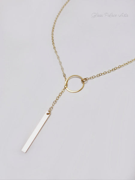 Lariat Necklace For Women - Vertical Bar Y Drop Necklace