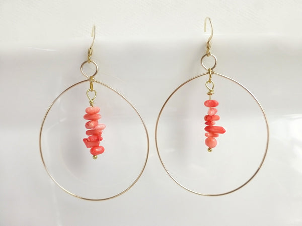 Pink Coral Earrings - Coral Beaded Hoop Earrings