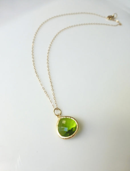 Peridot Green Pendant Necklace - Small Petite Charm Necklace