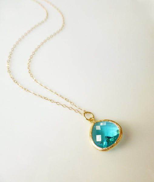Small Aquamarine Charm Necklace - Aqua Pendant Necklace