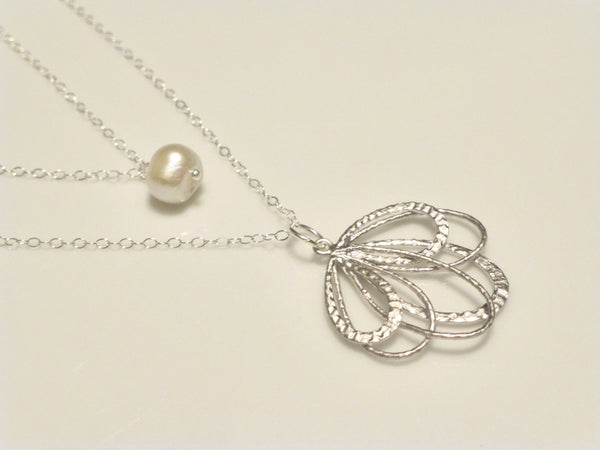Pearl Multi Strand Necklace - Layered Flower Pendant Necklace