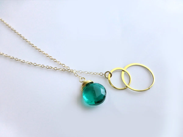 Gold Quartz Lariat Necklace - With Emerald Teal Gemstone Teardrop - In Gold or Sterling Silver
