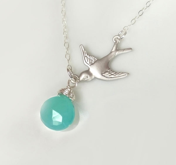 Flying Bird Necklace With Aqua Chalcedony - Sterling Silver or Gold