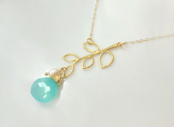 Gemstone Leaf Necklace - Branch Pendant Necklace