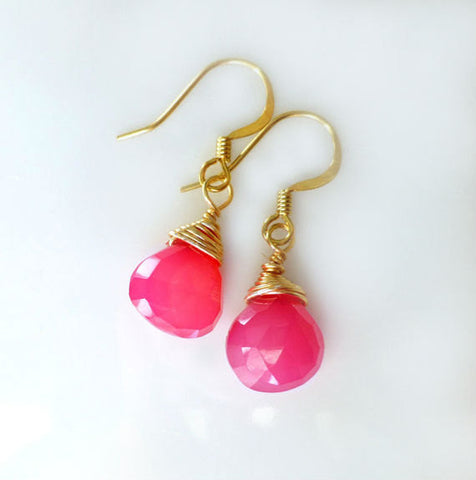 Hot Pink Chalcedony Teardrop Gemstone Earrings - Sterling Silver or 14k Gold Fill