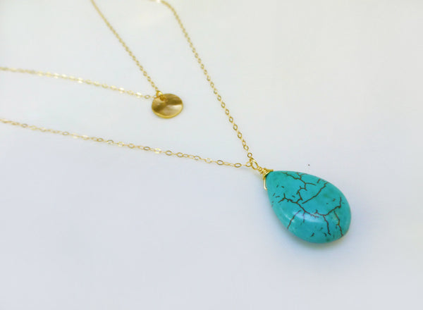 Multi Layered Turquoise Necklace -  Double Strand Gold Disk Necklace