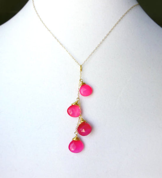 Hot Pink Gemstone Necklace With Dangling Magenta Chalcedony Teardrops