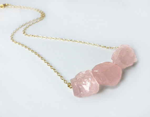 Rose Quartz Raw Gemstone Necklace