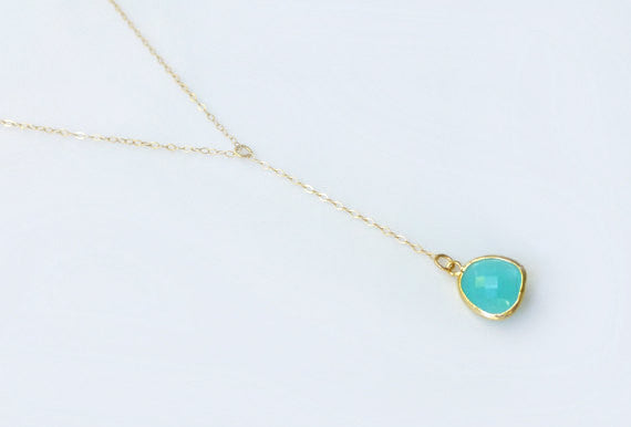 Y Drop Necklace With Dainty Ocean Blue Pendant - Gold or Sterling Silver