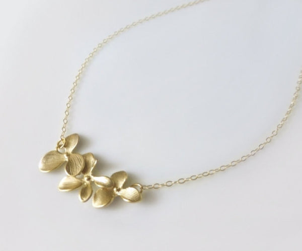 Orchid Flower Necklace - Dainty Triple Orchid Necklace