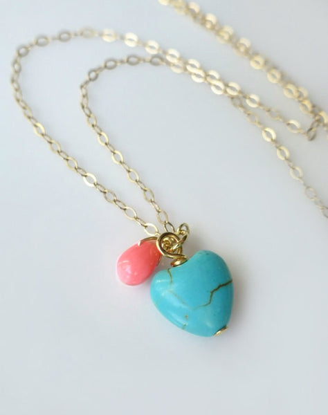Turquoise and Coral Necklace - Dainty Turquoise Heart Necklace