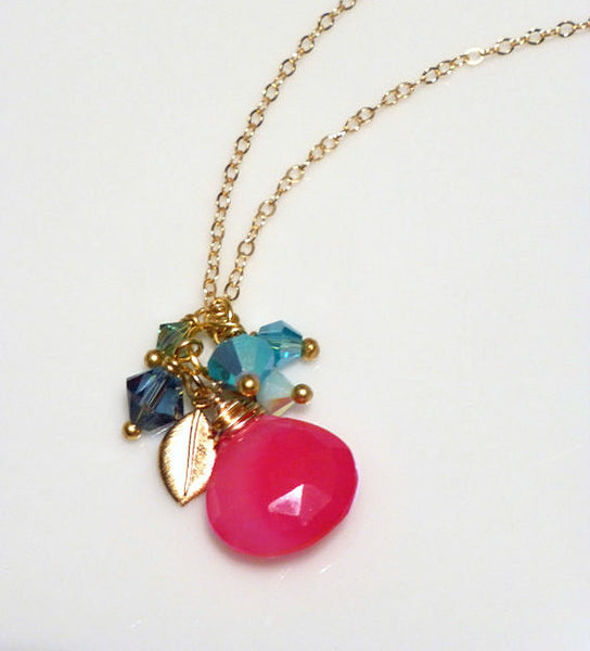 Hot Pink Chalcedony Gemstone Cluster Necklace With Swarovski Crystals