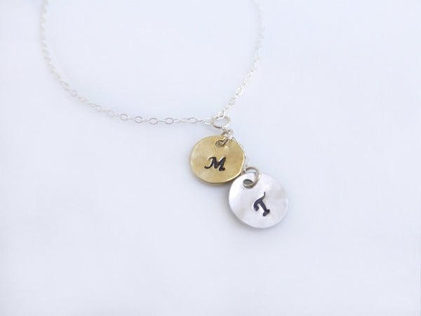 Hand Stamped Necklace - Mixed Metal Personalized Necklace