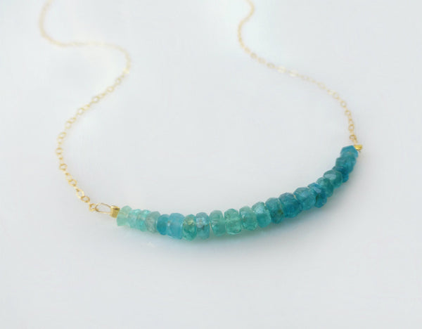 Blue Green Apatite Necklace - With Ombre Design