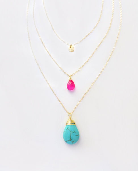 Turquoise And Hot Pink Triple Strand Necklace - Gold Turquoise Multi Strand Necklace