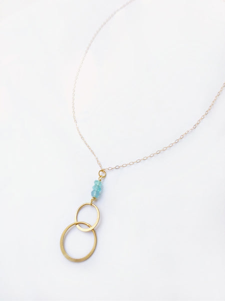 Infinity Pendant Necklace With Aqua Blue Green Apatite Gemstones