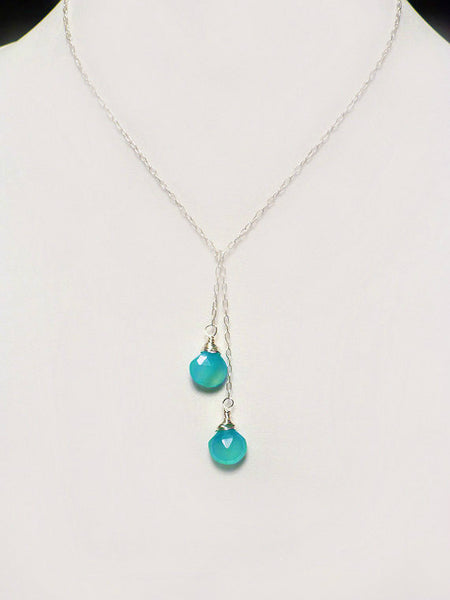 Knotted Lariat Necklace With Aqua Chalcedony Teardrop Gemstones - In Shiny Sterling Silver or 14k Gold Filled
