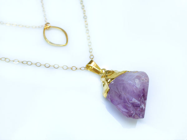 Raw Purple Amethyst Necklace - Long Layered Gemstone Necklace