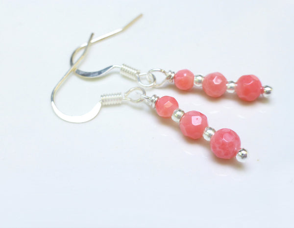 Pink Coral Earrings - Dainty Coral Dangle Earrings
