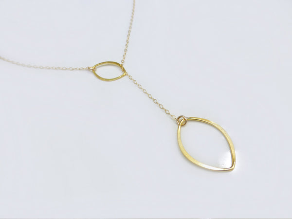 Gold Lariat Necklace- Raindrop Pendant Necklace
