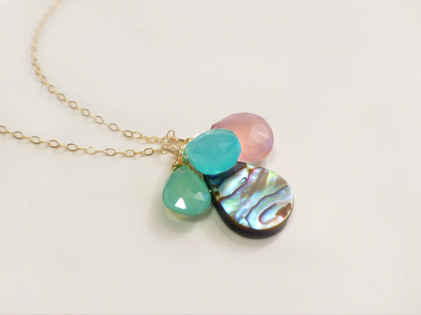 Abalone Necklace - Paua Shell Gemstone Beach Necklace