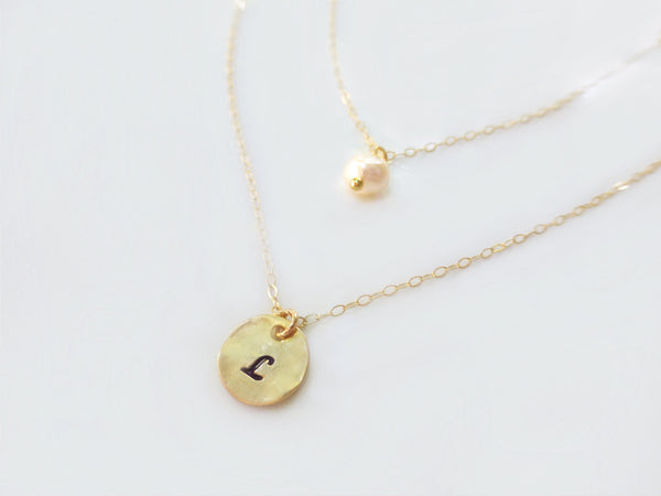 Personalized Multi Strand Initial Necklace - Monogram Tiny Initial Disk Charm Necklace