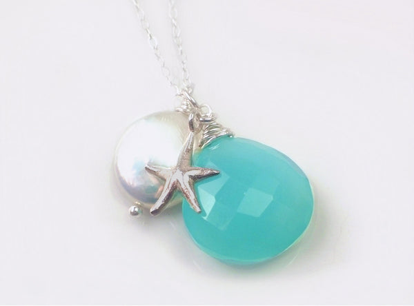 Silver Starfish Chalcedony Necklace - Freshwater Pearl & Starfish Necklace