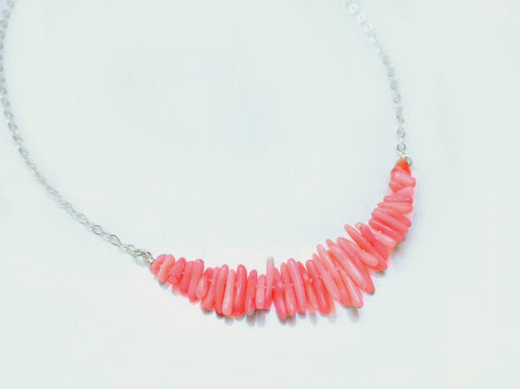 Pink Coral Necklace - Beach Coral Strand Necklace
